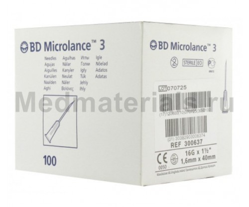 BD Microlance Игла инъекционная одноразовая стерильная 16G (1,6 x 40 мм)