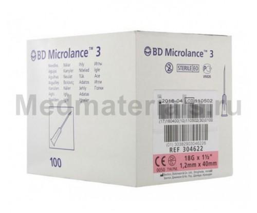 BD Microlance Игла инъекционная одноразовая стерильная 18G (1,2 x 40 мм)