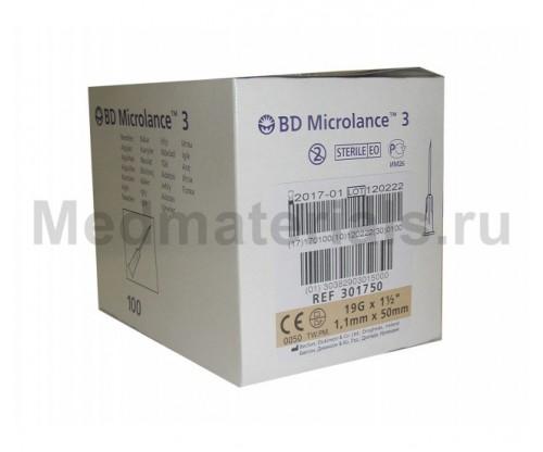BD Microlance Игла инъекционная одноразовая стерильная 19G (1,1 x 50 мм)