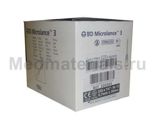BD Microlance Игла инъекционная одноразовая стерильная 22G (0,7 x 30 мм)