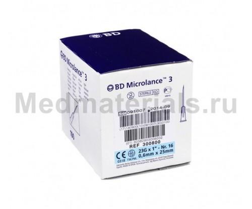 BD Microlance Игла инъекционная одноразовая стерильная 23G (0,6 x 25 мм)
