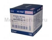 KDM KD-Fine Игла инъекционная одноразовая стерильная 24G (0,55 х 25 мм)