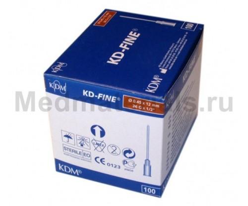 KDM KD-Fine Игла инъекционная одноразовая стерильная 26G (0,45 х 12 мм)