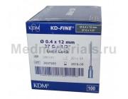 KDM KD-Fine Игла инъекционная одноразовая стерильная 27G (0,4 х 12 мм)