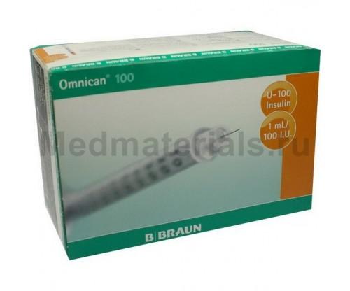 B.Braun Omnican 100 Шприц трехкомпонентный 1 мл, U100, интегрированная игла 30G (0,30 х 12,0 мм)