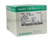 B.Braun Omnifix 100 DUO Шприц трехкомпонентный 1 мл, U100, игла 26G (0,45 х 12 мм)